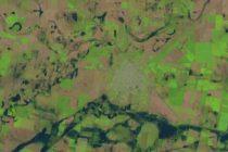 Foto satelital: Las Varillas rodeada por el agua