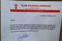 Comunicado del Club Huracán