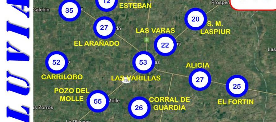 Registro de lluvias en la región