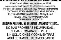 Laspiur: Protesta vecinal por el estado de la Ruta 158