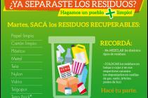 Cronograma de separación de residuos en Alicia