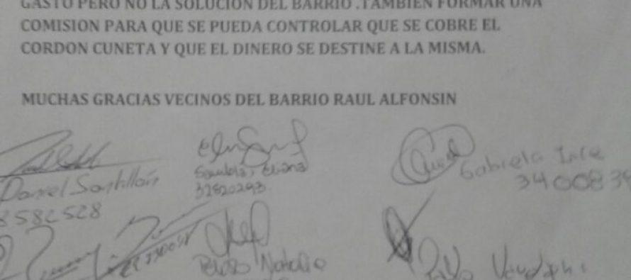 Vecinos de Barrio Alfonsín pidieron construcción de Cordón Cuneta