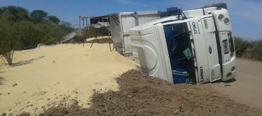 Accidente: camión derramó su carga en un camino rural
