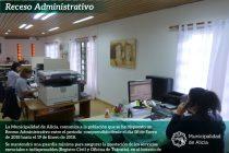 Receso administrativo en la Municipalidad de Alicia