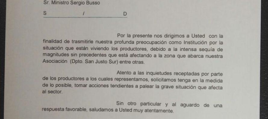 Por la preocupante sequía, la Asociación  Centro Agropecuario envió una carta al ministro Sergio Busso