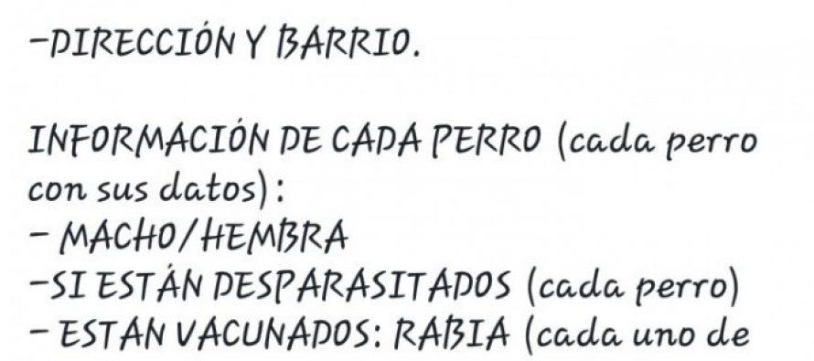 Censo Canino, pedido de los organizadores