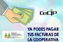 Ahora también podrán  pagarse las facturas de la Cooperativa en el CeCIP