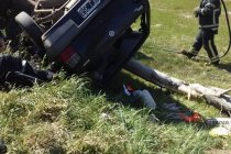 Espectacular accidente en la Ruta 158. Un herido con lesiones severas