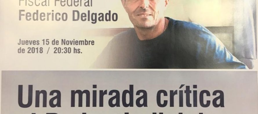 El Fiscal Federal Federico Delgado disertará en Las Varillas