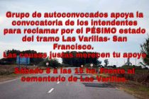 Este sábado, concentración en Las Varillas para reclamar por urgente reparación de la Ruta 158