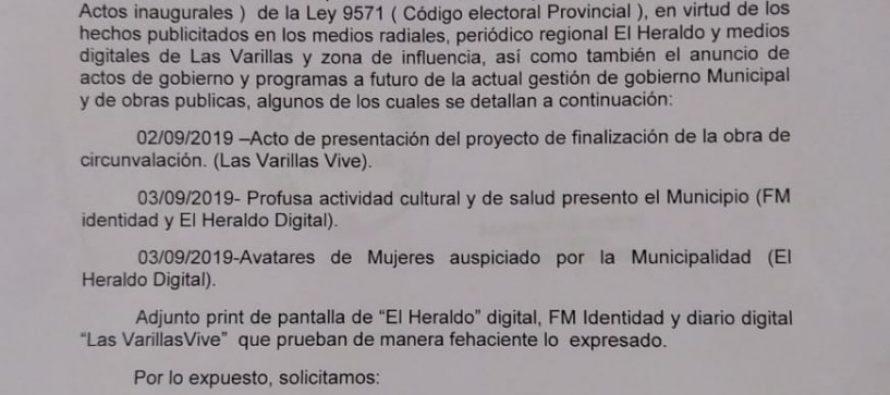 Todos Juntos Por Las Varillas denunció  el incumplimiento del Código Electoral por parte del oficialismo