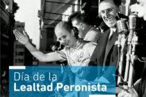 Recordarán este sábado en La Varillas el Día de la Lealtad Peronista  de manera virtual