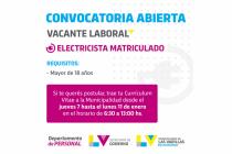 El Municipio necesita un electricista matriculado