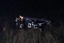 Un automóvil volcó en la ruta 158, solo se produjeron daños materiales