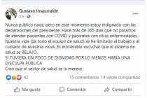 """Gustavo Insaurralde: """"Es intolerable escuchar que el sistema de salud se relajó"""""""